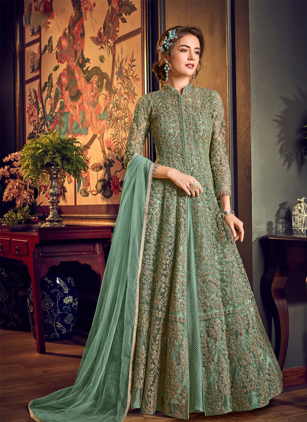 Fancy Fabric Green Sequins Anarkali Salwar Suit