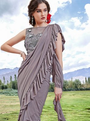 Fancy Fabric Grey Embroidered Trendy Saree