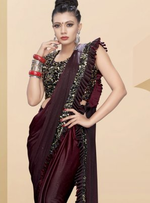 Fancy Fabric Maroon Classic Saree