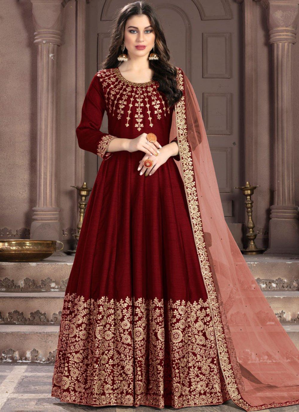 Fancy Fabric Maroon Designer Salwar Kameez