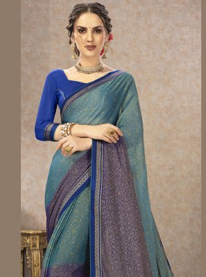 Fancy Fabric Multi Colour Printed Classic Saree