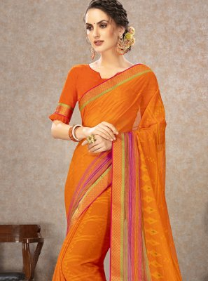Fancy Fabric Orange Printed Casual Saree