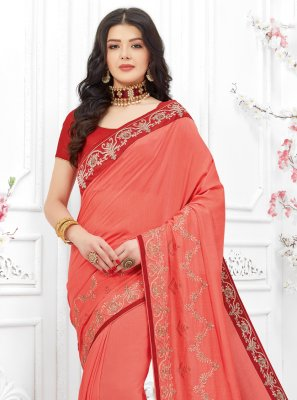 Fancy Fabric Peach Embroidered Traditional Saree