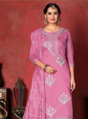 Fancy Fabric Pink Churidar Designer Suit