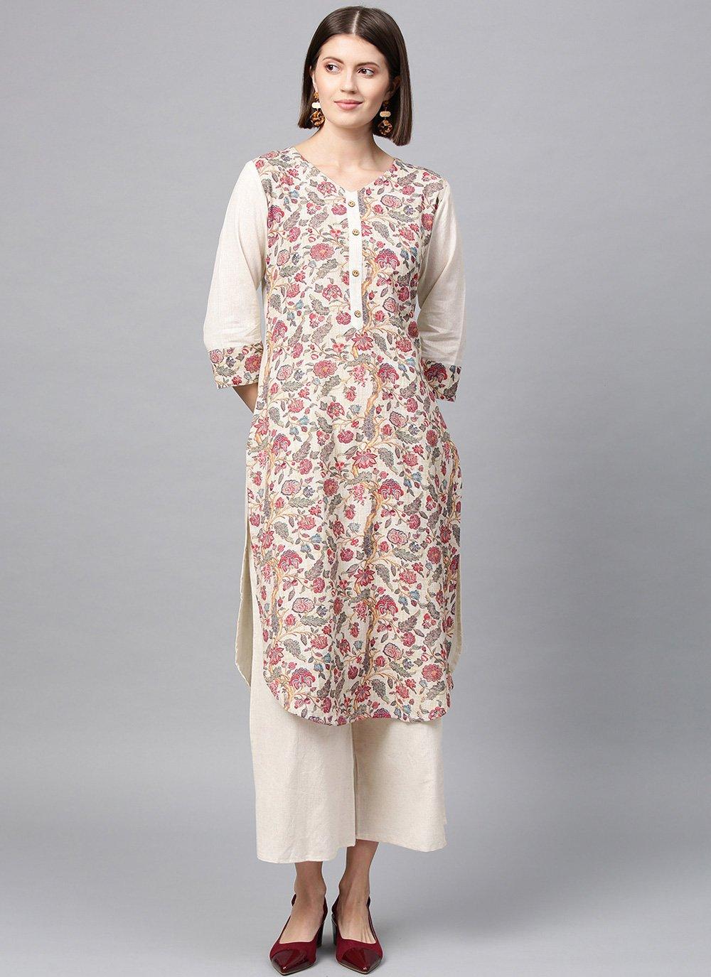 Fancy Fabric Printed Casual Kurti in Multi Colour