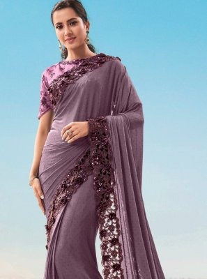 Fancy Fabric Purple Resham Classic Saree