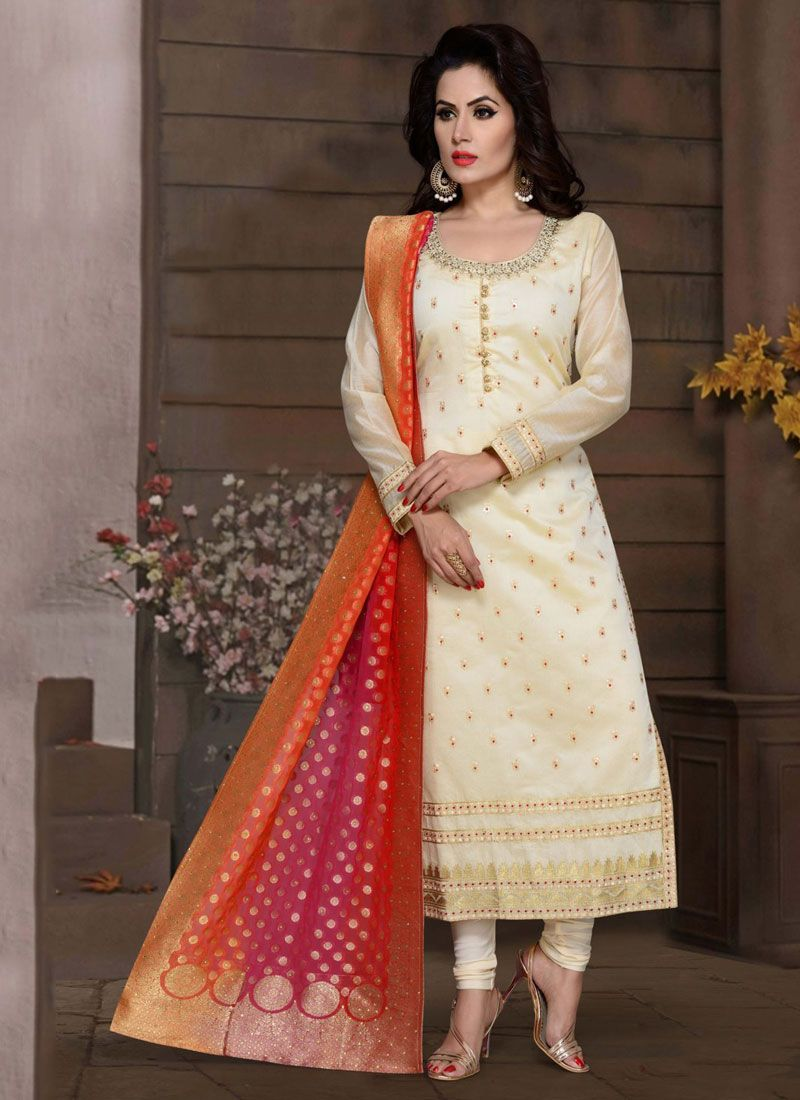 Fancy Fabric Readymade Suit in White