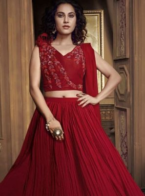 Fancy Fabric Red Embroidered Designer Lehenga Choli