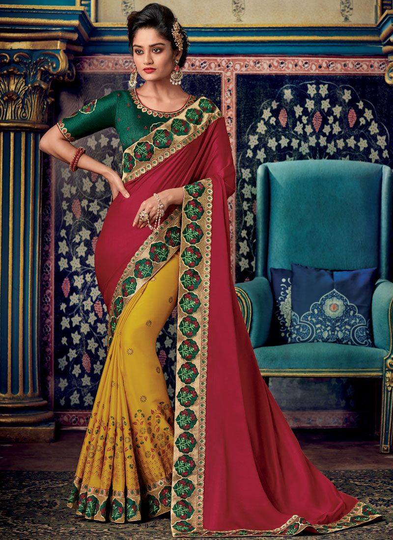 Fancy Fabric Red Embroidered Designer Saree