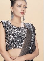 Fancy Fabric Traditional Saree in Black