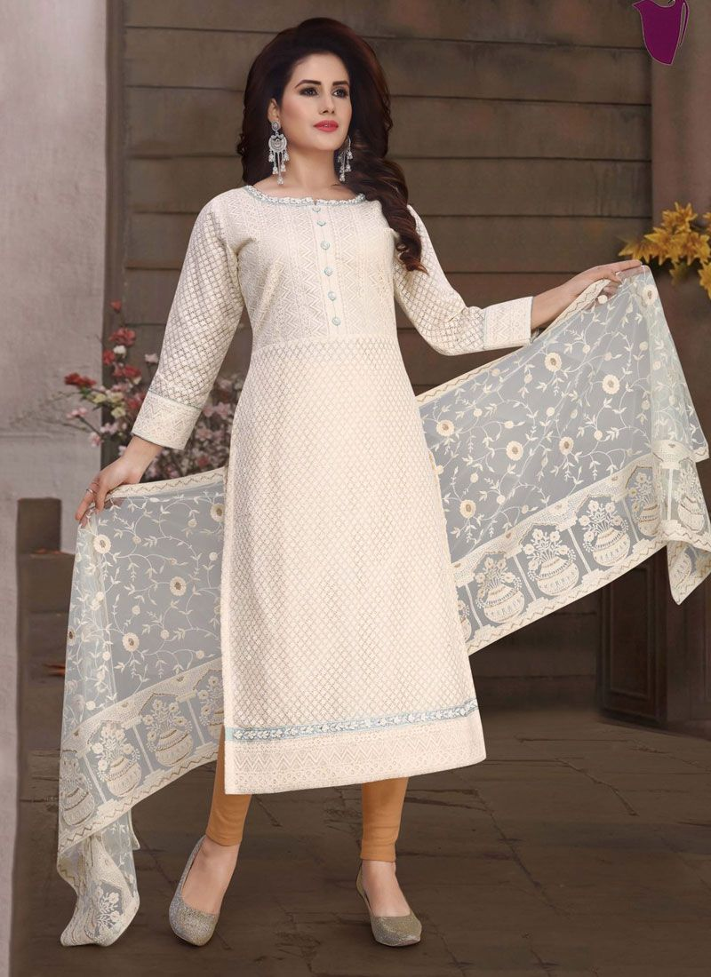 Fancy Fabric White Embroidered Readymade Suit