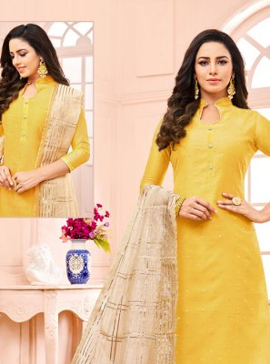 Fancy Fabric Yellow Fancy Designer Straight Suit