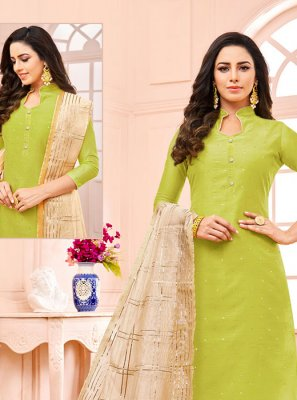 Fancy Fancy Fabric Green Designer Straight Suit