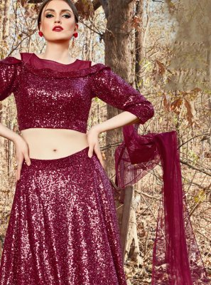 Fancy Fancy Fabric Maroon Trendy A Line Lehenga Choli