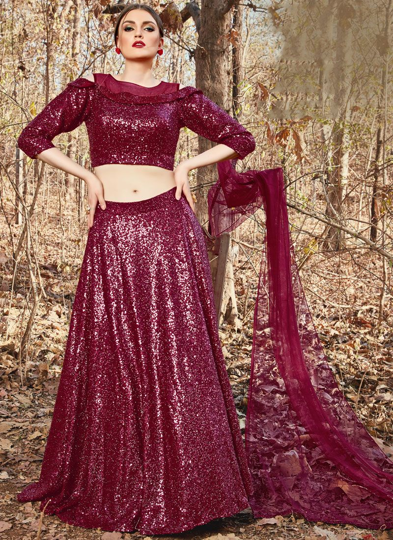 Fancy Fancy Fabric Maroon Trendy A Line Lehenga Choli