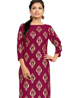 Fancy Faux Crepe Magenta Casual Kurti
