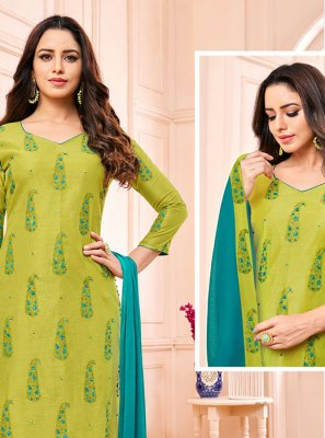 Fancy Green Fancy Fabric Churidar Designer Suit