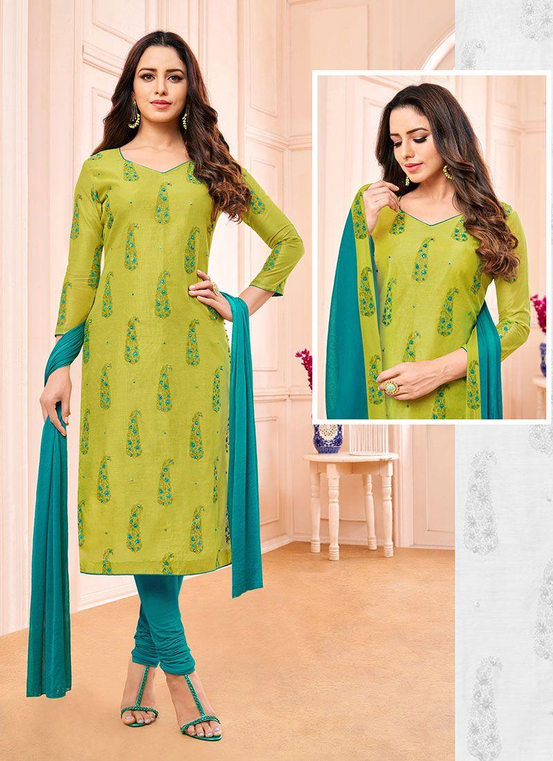 Fancy Green Fancy Fabric Churidar Designer Suit