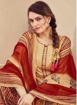 Fancy Jacquard Designer Salwar Suit in Beige