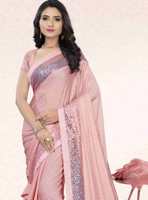 Fancy Lycra Classic Saree in Pink