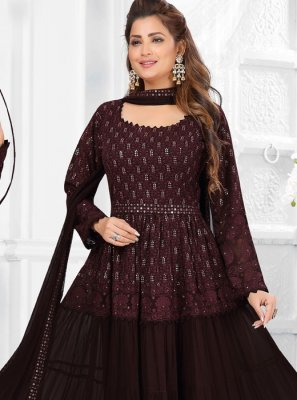 Fancy Wine Faux Georgette Readymade Suit