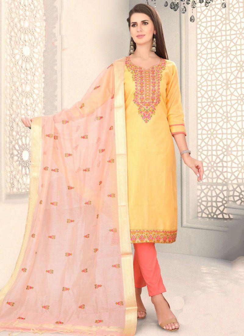 Fancy Yellow Chanderi Churidar Designer Suit