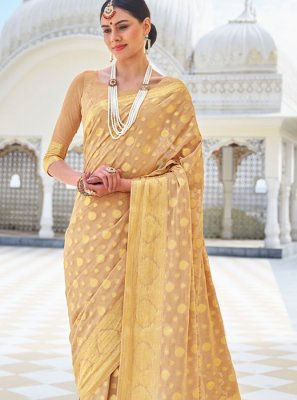 Faux Chiffon Beige Classic Designer Saree
