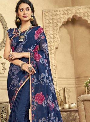 Faux Chiffon Blue Designer Saree