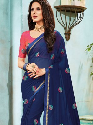 Faux Chiffon Blue Traditional Saree