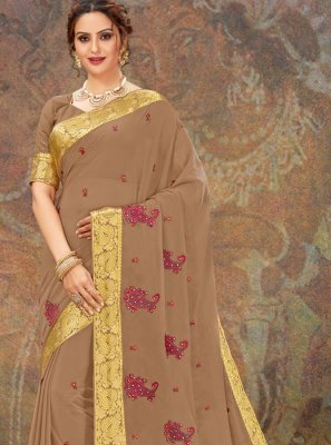 Faux Chiffon Brown Traditional Saree