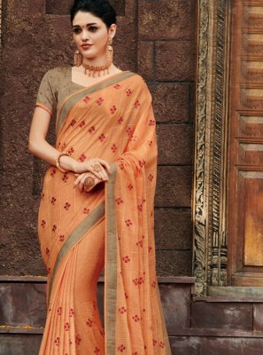 Faux Chiffon Classic Designer Saree in Peach