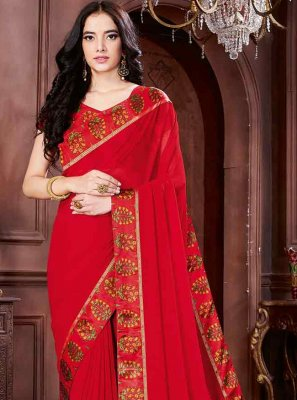 Faux Chiffon Classic Saree in Red
