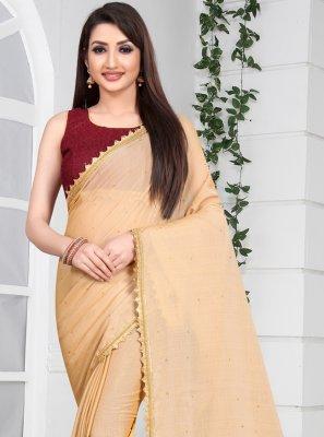 Faux Chiffon Cream Border Bollywood Saree