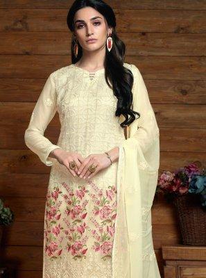 Faux Chiffon Cream Salwar Kameez