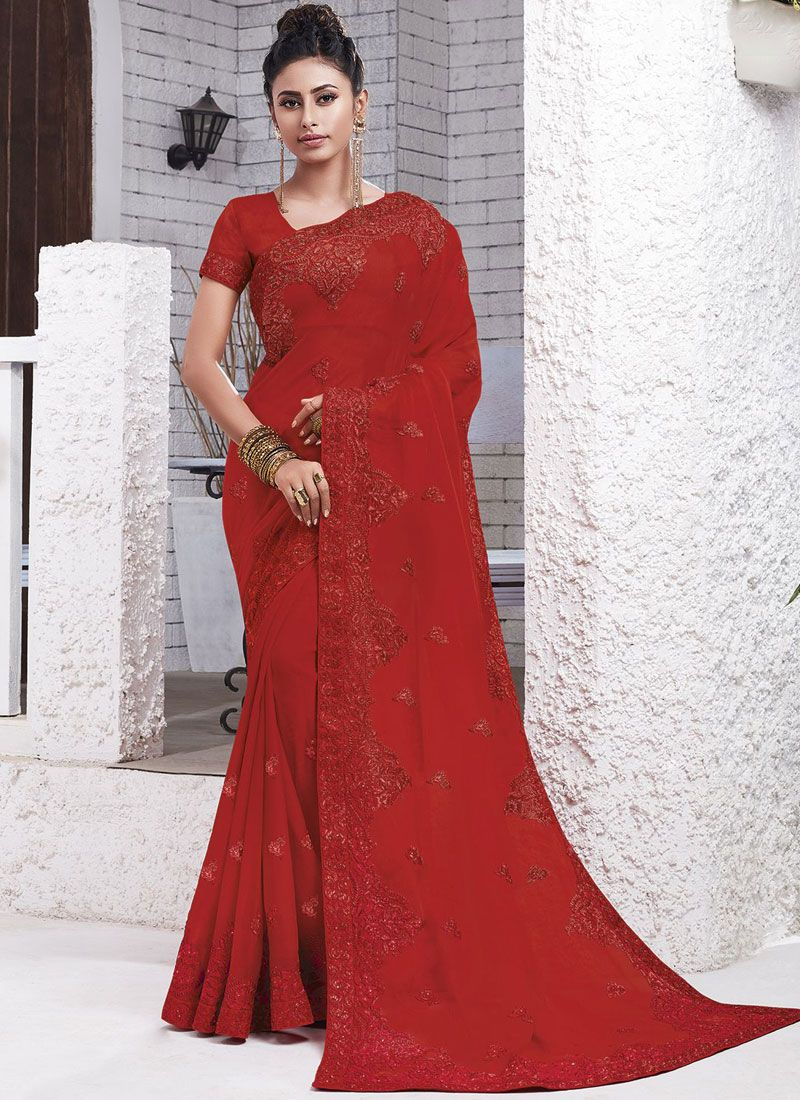 Faux Chiffon Embroidered Classic Saree