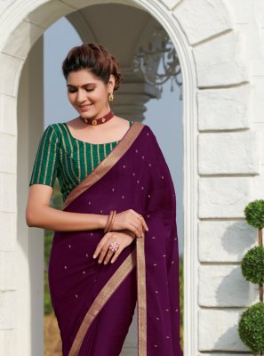 Faux Chiffon Embroidered Classic Saree