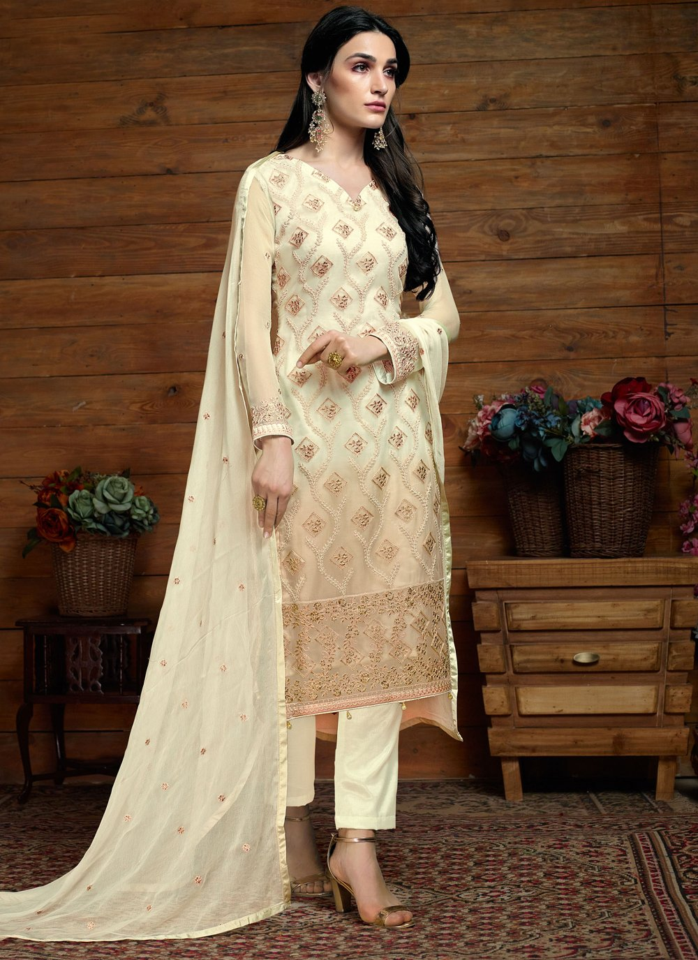 Faux Chiffon Embroidered Cream Salwar Suit