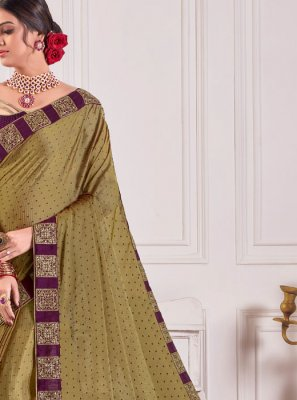 Faux Chiffon Embroidered Green Classic Designer Saree