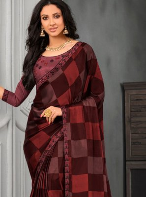 Faux Chiffon Embroidered Multi Colour Designer Saree