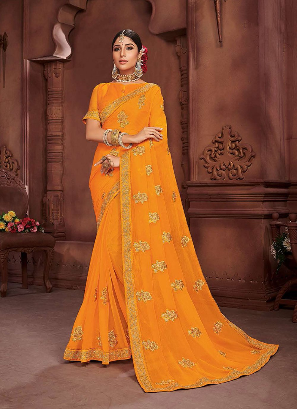 Faux Chiffon Embroidered Mustard Classic Saree