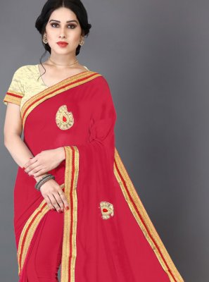 Faux Chiffon Embroidered Trendy Saree