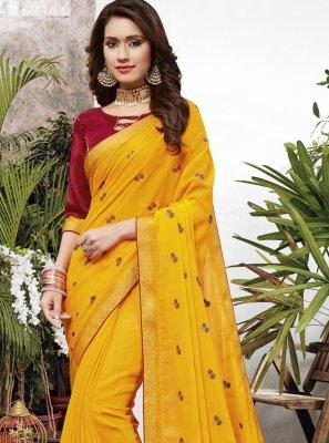 Faux Chiffon Embroidered Yellow Designer Saree
