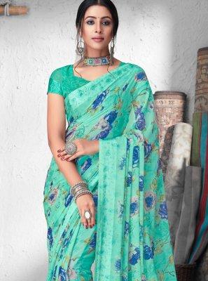 Faux Chiffon Floral Print Bollywood Saree in Green