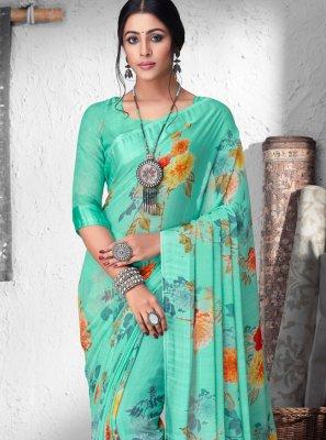 Faux Chiffon Floral Print Designer Saree