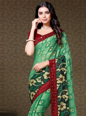 Faux Chiffon Floral Print Green Traditional Saree