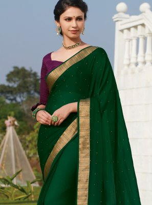 Faux Chiffon Green Embroidered Classic Saree