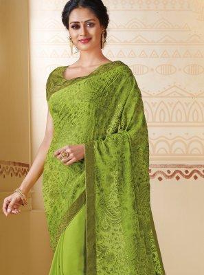 Faux Chiffon Green Embroidered Contemporary Saree
