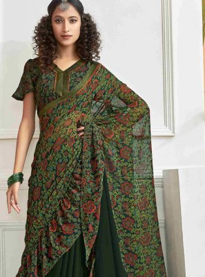 Faux Chiffon Green Printed Saree