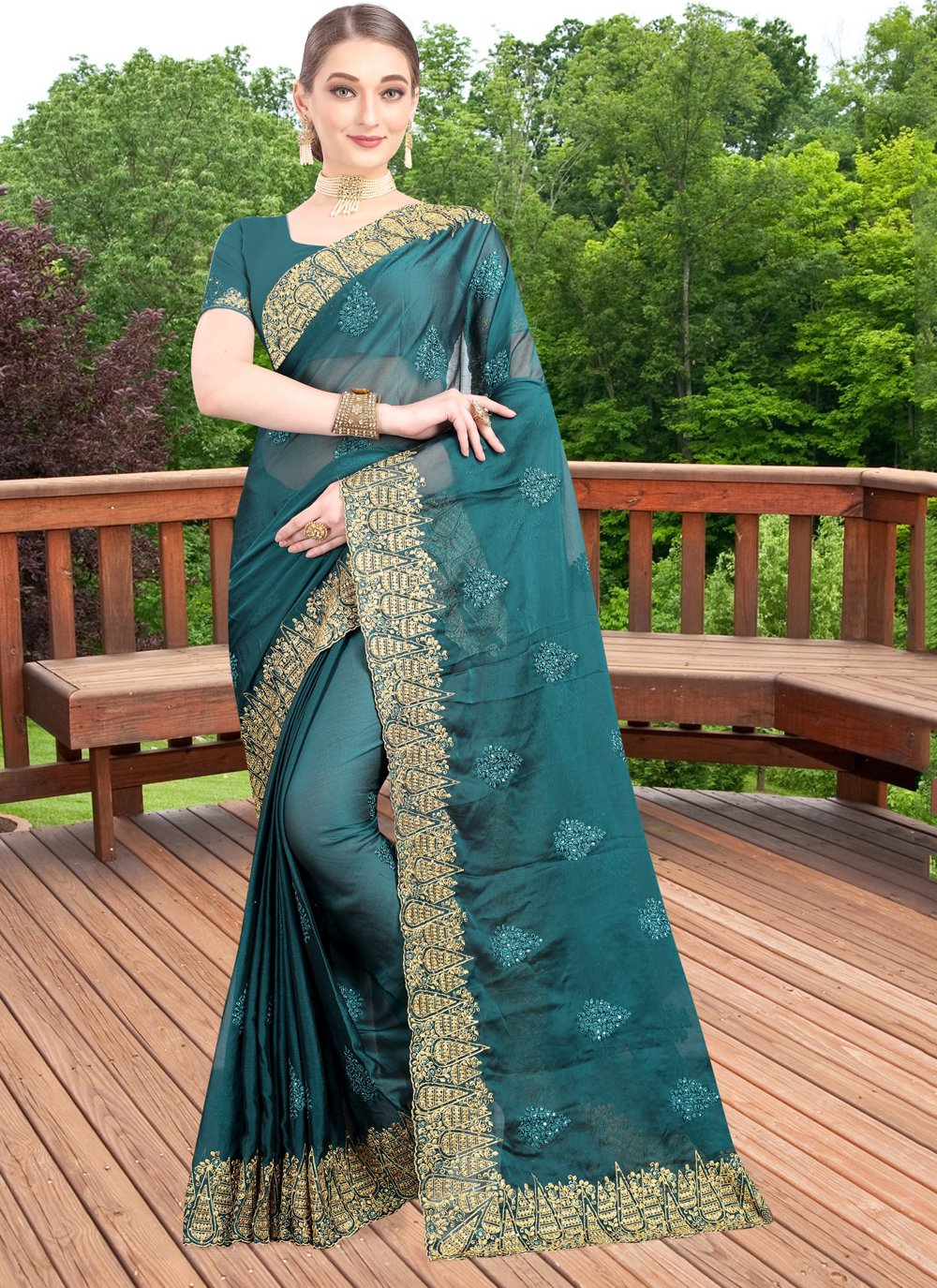 Faux Chiffon Green Zari Bollywood Saree