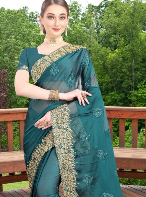 Faux Chiffon Green Zari Bollywood Saree